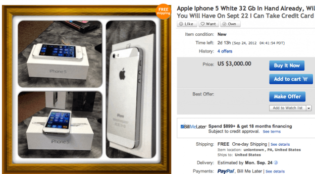 Apple iPhone 5 costs up to 00 on eBay