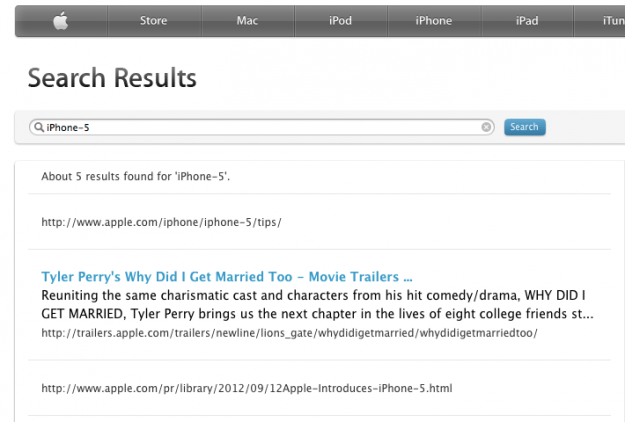 iPhone-5 Apple.com search
