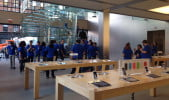 It's calm inside the Apple Store, but it won't last