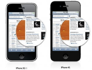 "iPhone ""retina"" display compare"