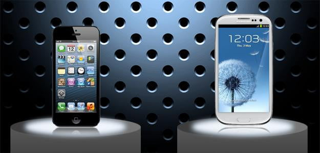 iphone galaxy pedastals apple samsung