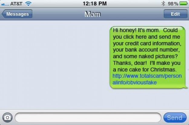 Sample iPhone text scam