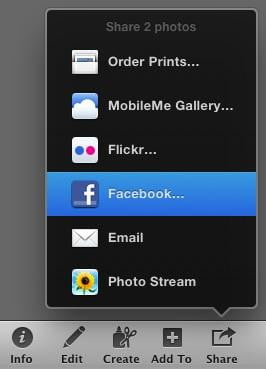 iPhoto Mac OS X Facebook