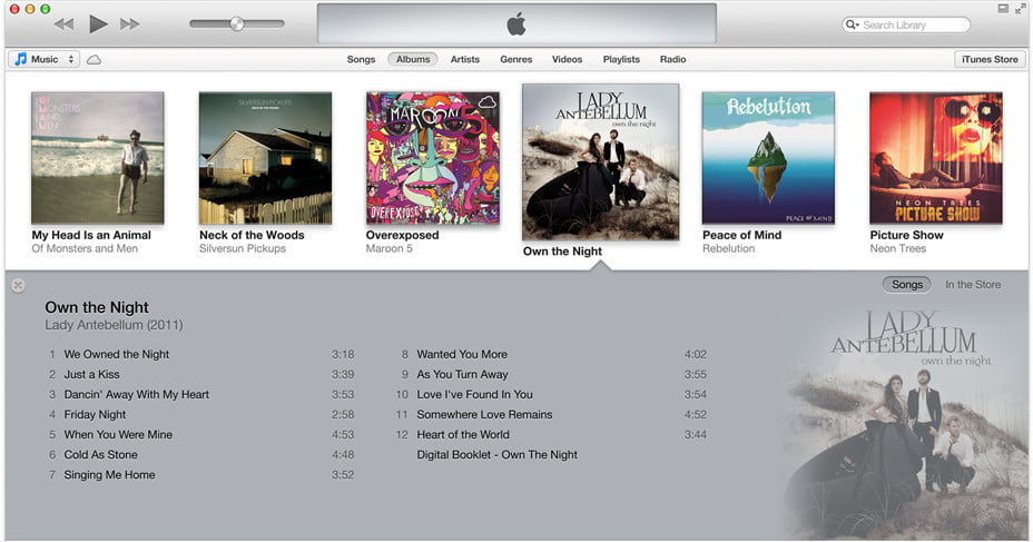 apple iTunes 11 redesigned album player