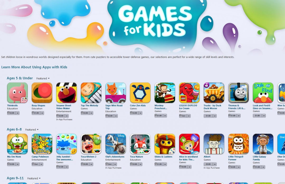 apple adds age subcategories kids help parents pick apps itunes games for