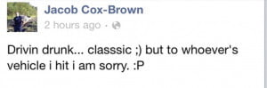 jacob cox-brown Facebook confession