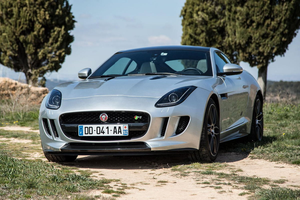 jaguar f type get manual transmission awd coupe front angle