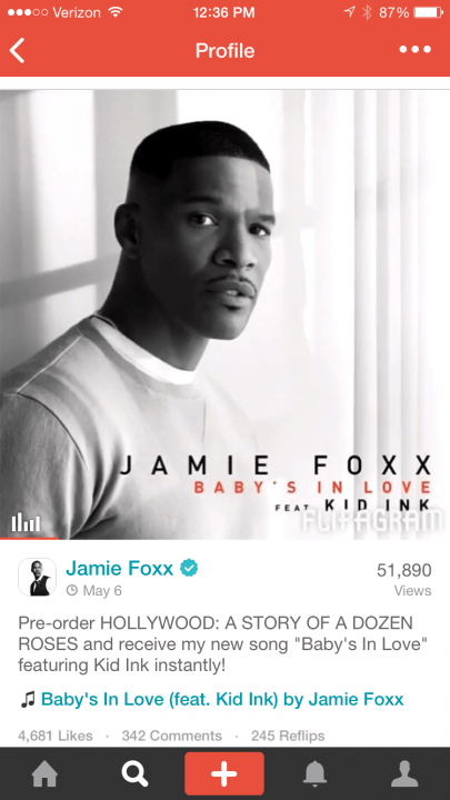 storytelling social network flipagram signs music licensing deals with majors jamie foxx
