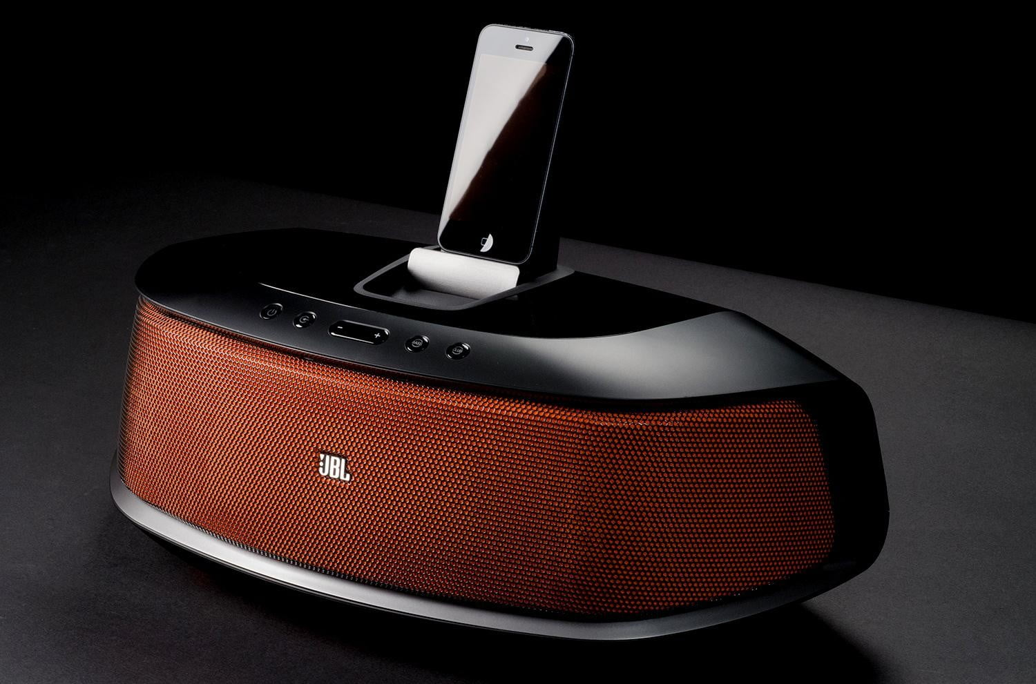 JBL speaker dock review phone front angle