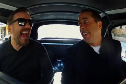 Jerry Seinfeld and Ricky Gervais appear in an episode of Comedians in Cars getting Coffee