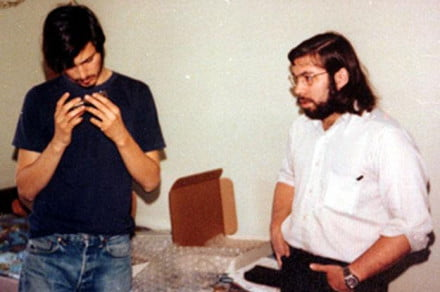 "Steve Jobs and Steve Wozniak inspect their ""blue box"""