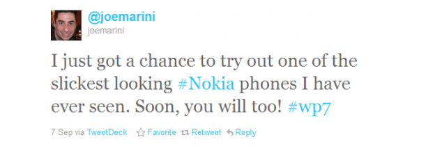 Joe marini tweet about nokia wp7 phone