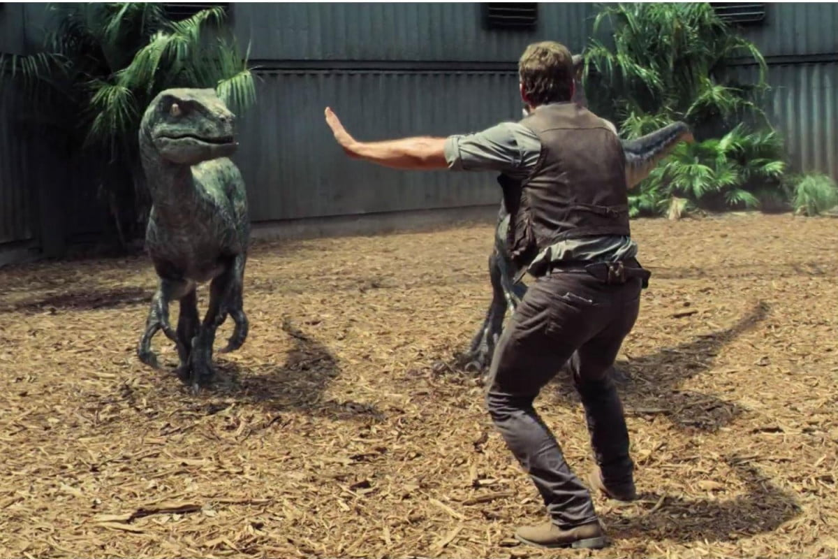 jurassic world the avengers opening weekend raptor clip