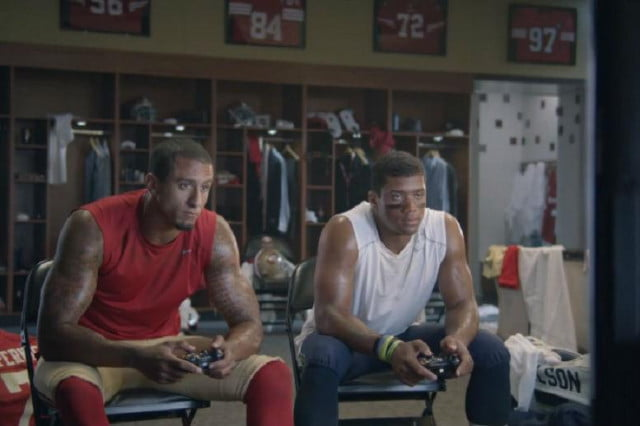 quarterbacks kaepernick and russell each risk an eyebrow thanks to madden wilson