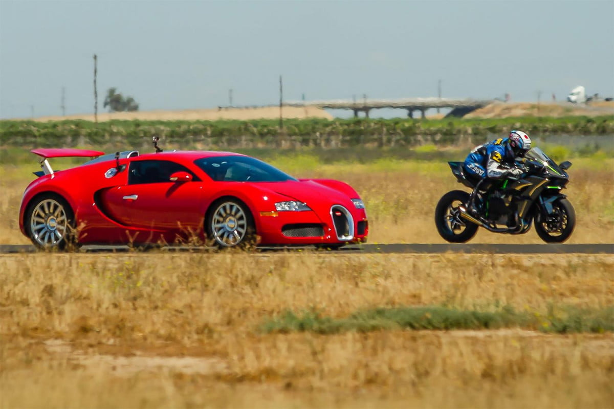 kawasaki h r vs bugatti veyron video supercar