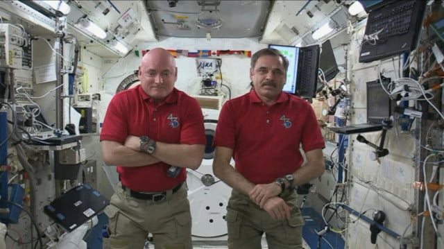 Scott Kelly and Mikhail Kornienko aboard the ISS
