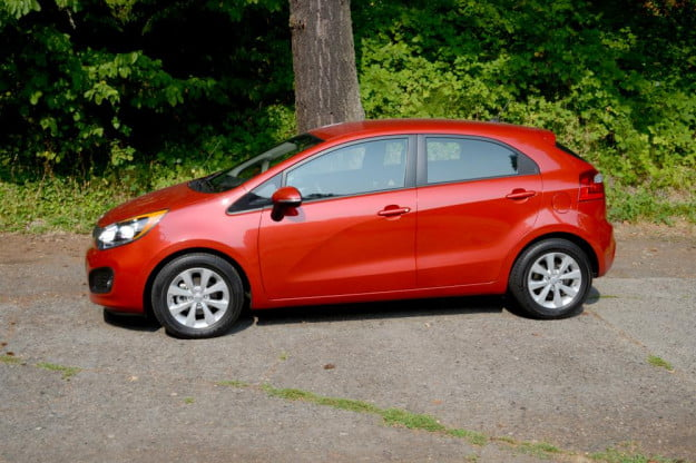 kia rio review side on 2012 compact