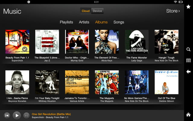 kindle fire hd  screenshot cloud music