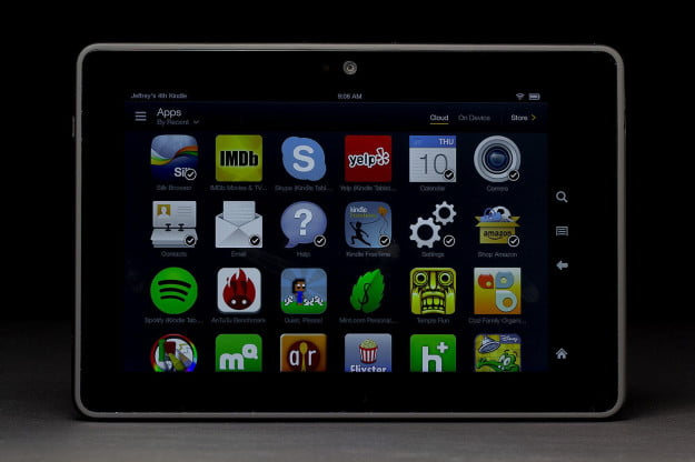 Kindle Fire HDX front app grid