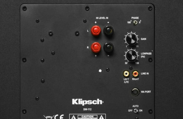 Klipsch RF 62 II Home Theater System Review SW 112 subwoofer rear dials