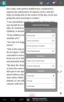 kobo arc screenshot book page reading advanced settings