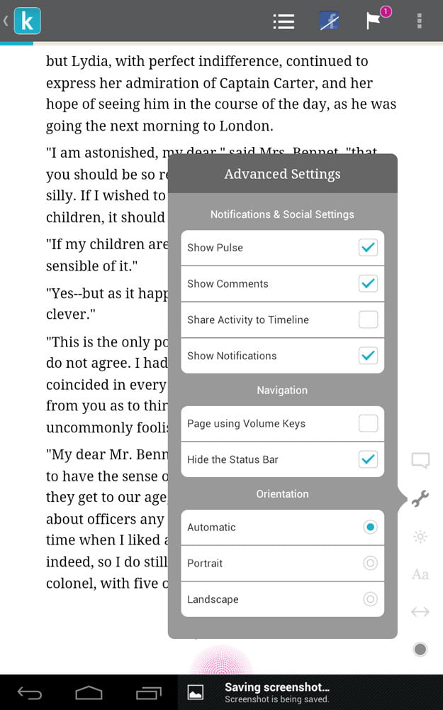 kobo arc screenshot book page advanced setting settings