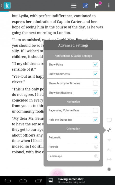 kobo arc review advanced settings