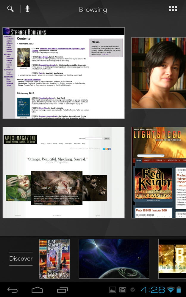 kobo arc screenshot browsing magazines discover