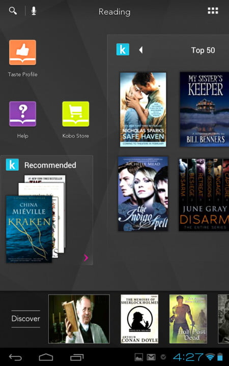 kobo arc review screenshot discover reading