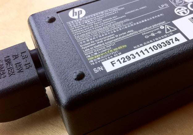 laptop power supply input voltage highlighted
