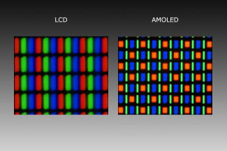 LCD pixels vs. AMOLED pixels