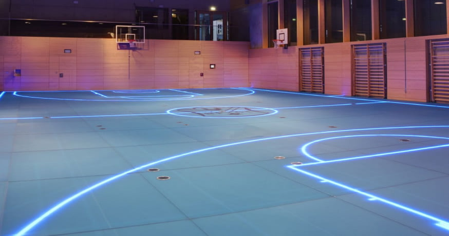 gym 39 s smart floor uses led lights for changeable boundary