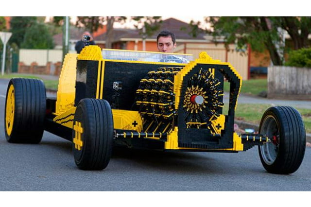 life size lego car hits the road with engine powered by air