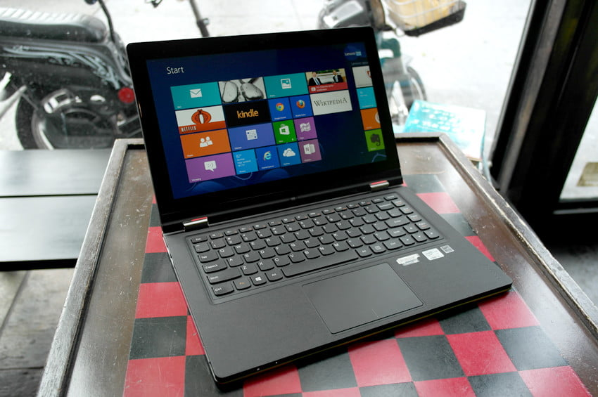 Lenovo Yoga review front angle laptop mode