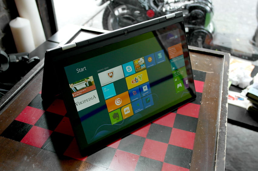 Lenovo Yoga review front left angle homescreen tent mode