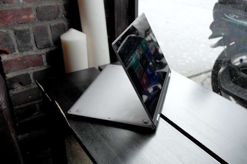 Lenovo Yoga review side angle rotated hybrid laptop tablet windows 8