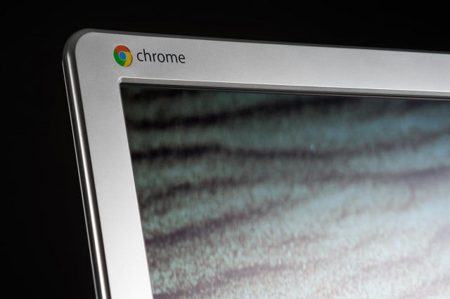 LG 22CV241 Chromebase review macro Chrome logo 2