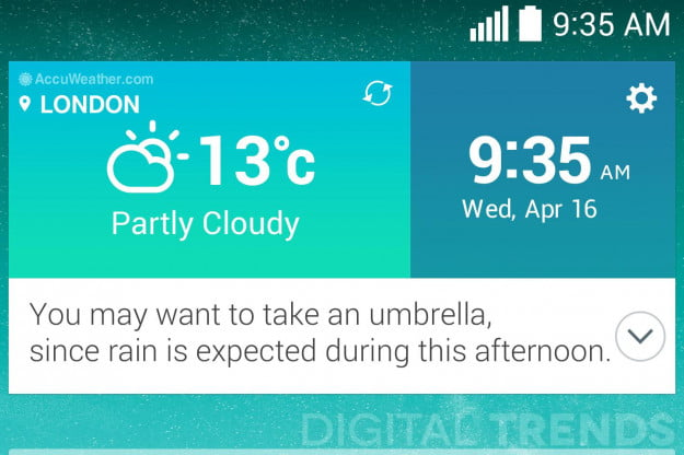 "The new AccuWeather widget has a built-in ""concierge"" that will give you tips. Here it tells you to carry an umbrella."