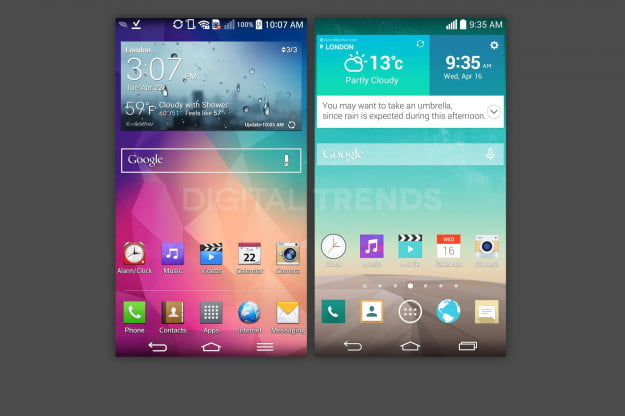 Next to the LG G Pro 2's home screen, the G3's look is striking.