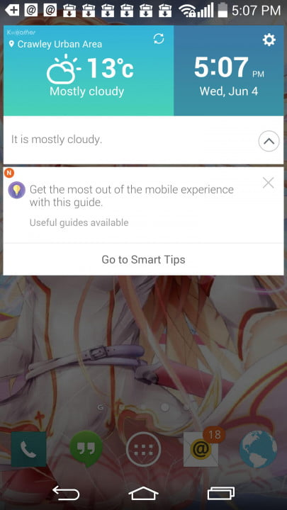 LG G3 work review screens smart tips weather