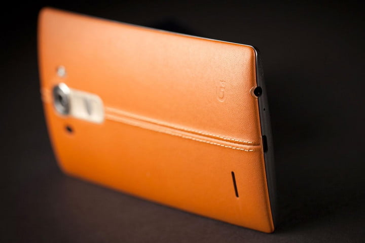 lg g  review leather update back side angle