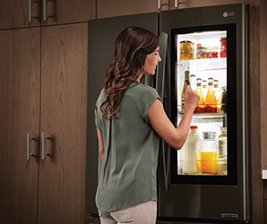 LG's InstaView fridge has a tinted window that turns clear when you knock