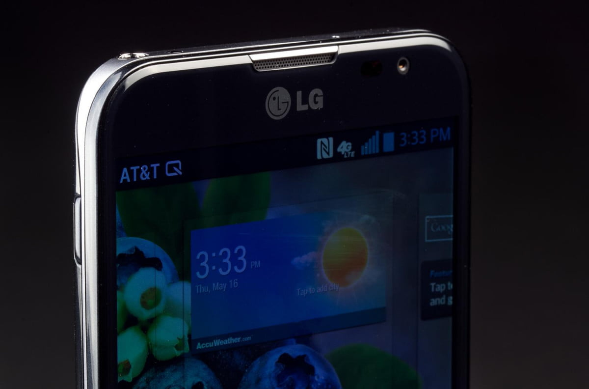 lg rumored to release  inch phablet optimus g pro black screen macro angle