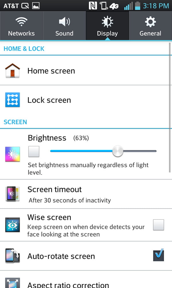 LG Optimus G review screenshot display settings android smartphone