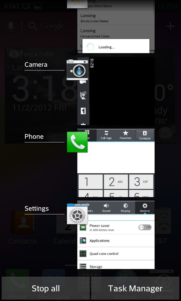 LG Optimus G review screenshot screenshot task manager android smartphone
