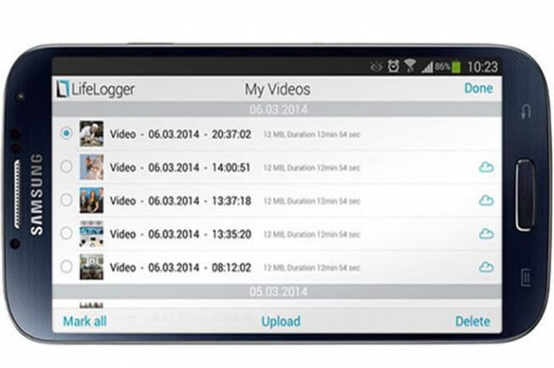 The Lifelogger app controls the camera and manages your content wirelessly. Credit: Lifelogger
