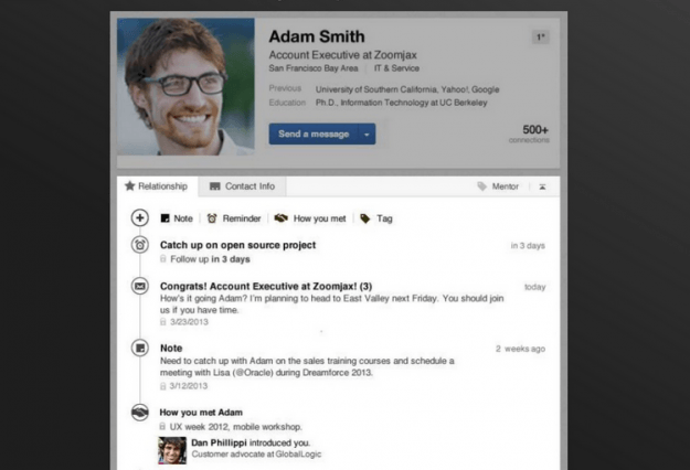 linkedin contacts profile page