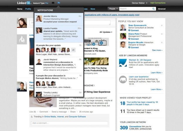 linkedin notifications