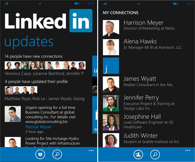 linkedin microsoft windows phone app
