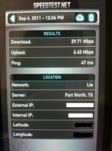 Speed Test of AT&T LTE on HTC Holiday